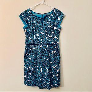 Nanette Lepore teal flower print pocket mini dress